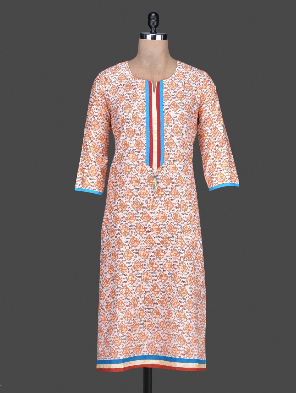 Orange Printed Cotton Round Neck Kurta - By