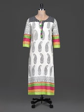 Multicolour Printed Round Neck Cotton Kurta - By