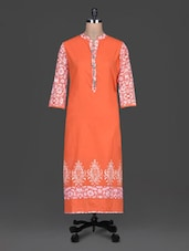 Orange Plain Cotton Kurta With Printed Sleeves - SHREE