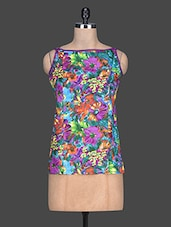 Multicolour Printed Cotton Sleeveless Top - By - 1189272