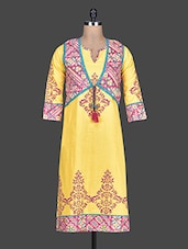 Yellow Plain And Block Printed Cotton Kurta - By