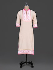 Embroidered Beige Cotton Long Kurta - By