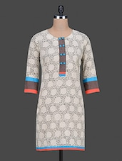 Printed Beige Cotton Kurta - By