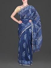 Blue Daboo Block Printed Silk Cotton Saree - By