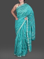 Sea Green Hand Block Printed Silk Cotton Saree - Maandna
