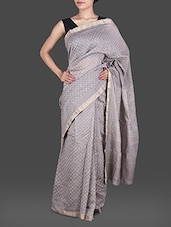 Grey Hand Block Printed Silk Cotton Saree - Maandna