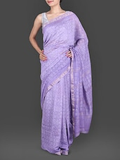 Lilac Hand Block Printed Silk Cotton Saree - Maandna