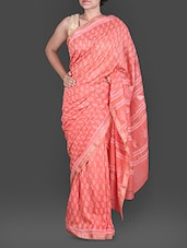 Coral Hand Block Printed Silk Cotton Saree - Maandna