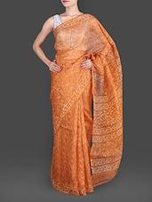 Orange Hand Block Printed Pure Silk Kota Saree - Maandna