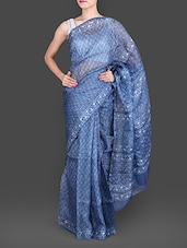 Blue Daboo Printed Pure Silk Kota Saree - Maandna