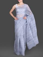 Grey Hand Block Printed Pure Silk Kota Saree - By