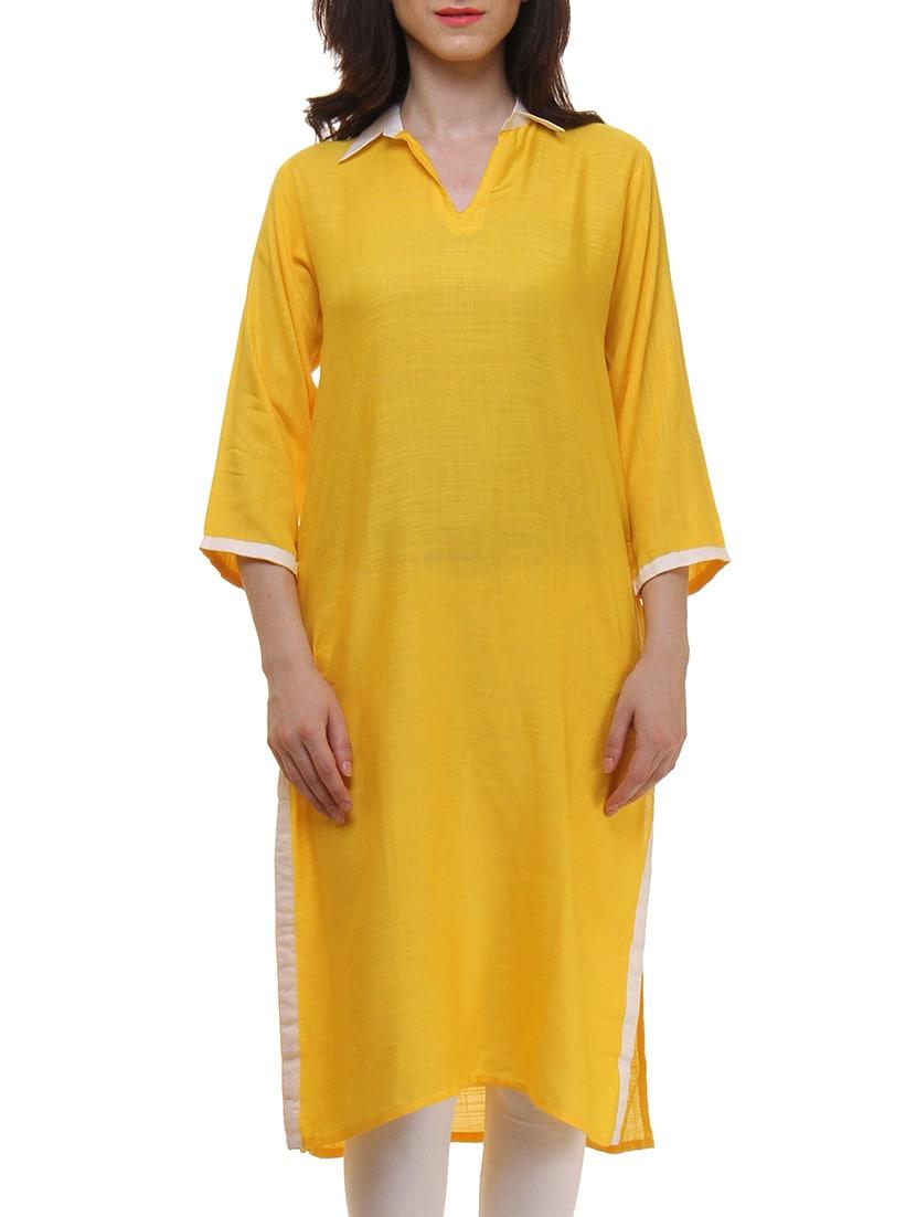 Yellow Cotton Straight Kurta - By