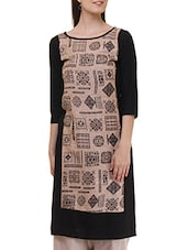 Black And Beige  Rayon Straight Kurta - By