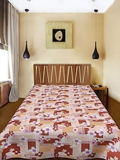 Brown Printed Cotton Single Bed AC Quilt - Urban Style
