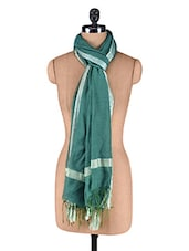 Green Plain Dupatta - By