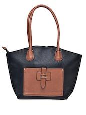 Black Cut Work Faux Leather Handbag - Hotberries - 1190658