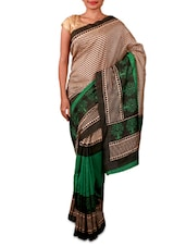 Beige And Green Printed Bhagalpuri Silk Saree - Fabdeal