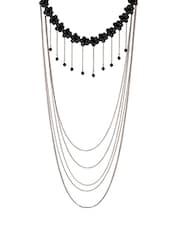 Black Metal Long Necklace - By