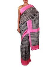 Printed Black And White Art Silk Saree - By