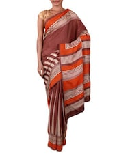 Brown And White Printed Art Silk Saree - By