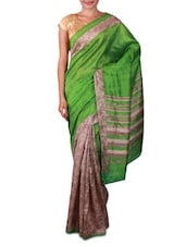 Green And Grey Printed Art Silk Saree - By