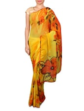 Yellow Floral Printed Georgette Saree - By
