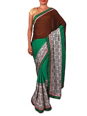 Brown And Green Silk Saree - By
