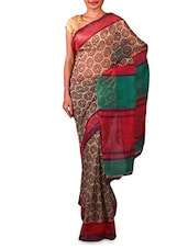 Printed Beige Manipuri Silk Saree - By