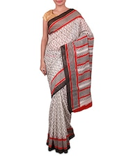 White And Grey Printed Linen Silk Saree - Fabdeal