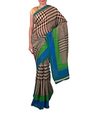 Beige And Black Printed Linen Silk Saree - By