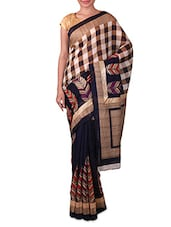 Navy Blue And Beige Printed Saree - Fabdeal