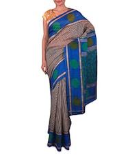 Black And White Printed Saree - Fabdeal