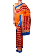 Printed Orange And Maroon Saree - By