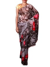 Abstract Floral Print Grey Georgette Saree - By