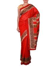 Red Paisley Printed Bhagalpuri Silk Saree - Fabdeal