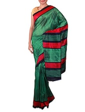 Green Printed Bhagalpuri Silk Saree - Fabdeal
