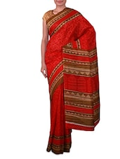 Red Printed Bhagalpuri Silk Saree - Fabdeal