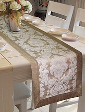 Lushomes Silver Jacquard Runner With High Quality Polyester Border - By