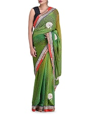 Green Printed Zardosi Embroidered Chiffon Saree - By