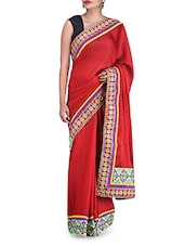 Zardosi Embroidered Red Polygeorgette Saree - By