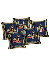 Lali Prints Patch Work Blue Ethnic Print Cushion Cover Set Of 5 - By
