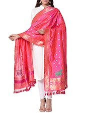 Pink And Orange Handwoven Banarasi Dupatta - By