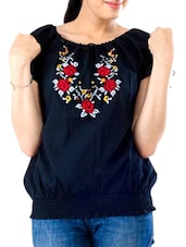 Black floral embroidered cotton top -  online shopping for Tops