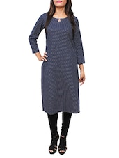 Blue Polka Dot Printed Cotton Straight Kurta - By