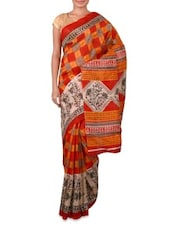 Multicolour Printed Bhagalpuri Silk Saree - By