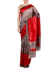 Red And Grey Dupion Printed Sari - By