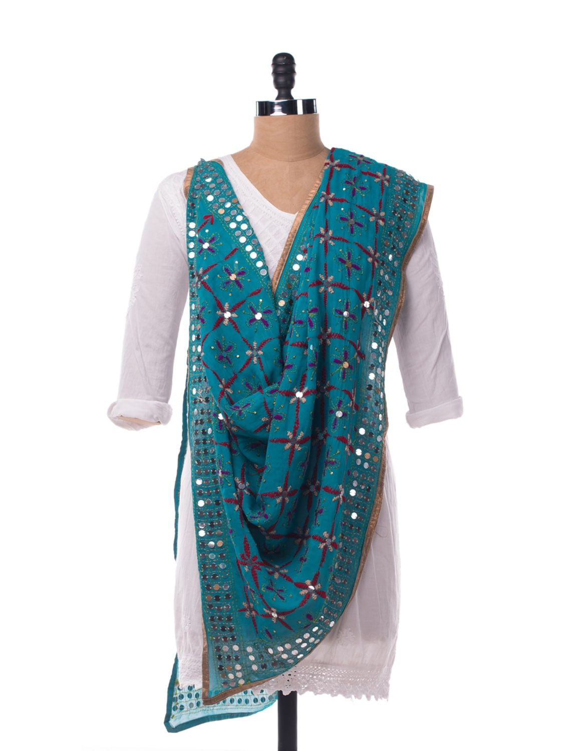 Blue Embroidered Dupatta - Vayana