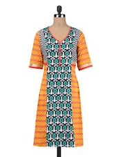 Multi-coloured Cotton Printed Kurta - By