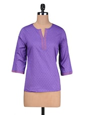 Purple Cotton Summer Kurti - By