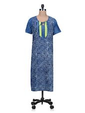 Short Sleeves Blue Printed Cotton Kurta - By
